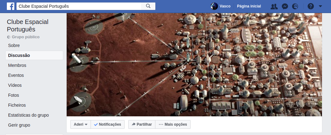 Grupo do Clube Espacial Português no Facebook